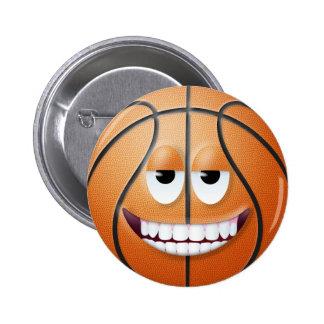 Cara sonriente 2 del baloncesto pin redondo 5 cm