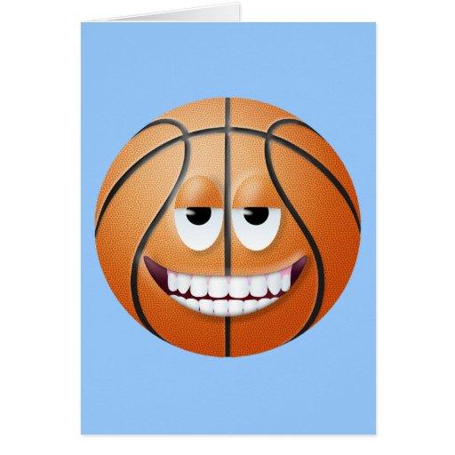 Cara sonriente 2 del baloncesto tarjeta de felicitación