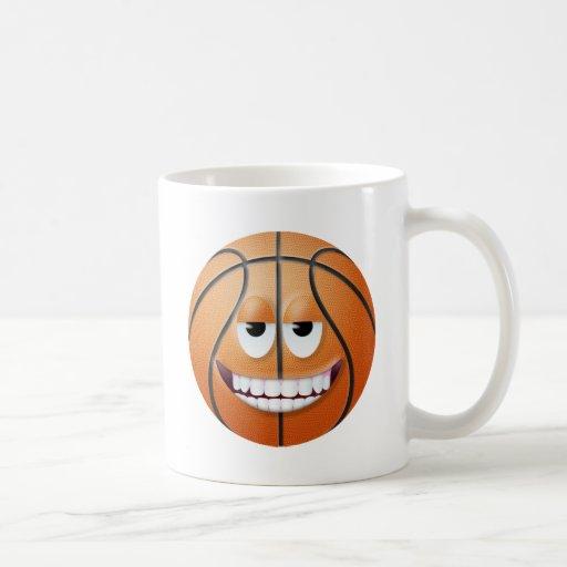 Cara sonriente 2 del baloncesto taza clásica