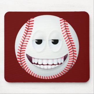 Cara sonriente 2 del béisbol alfombrillas de ratón