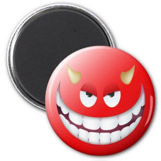 Cara sonriente 2 del diablo imán redondo 5 cm