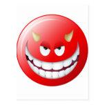 Cara sonriente 2 del diablo postal