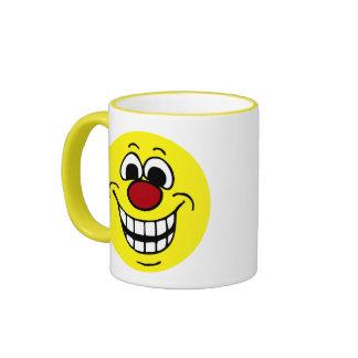 Cara sonriente alegre Grumpey Taza De Dos Colores