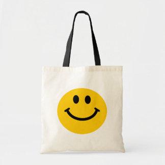Cara sonriente amarilla bolsa tela barata
