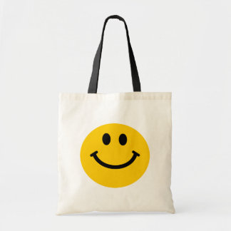 Cara sonriente amarilla bolsa lienzo