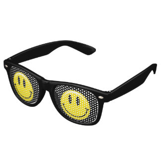 Cara sonriente amarilla clásica lentes de fiesta