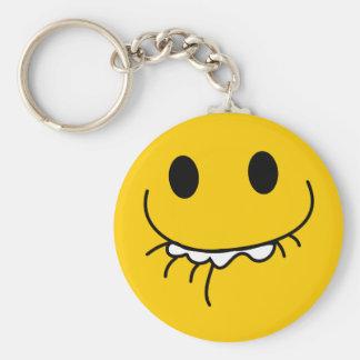 Cara sonriente amarilla de risa suprimida llavero