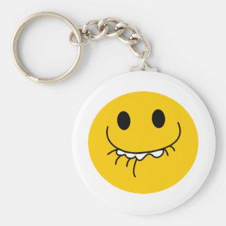 Cara sonriente amarilla de risa suprimida llaveros personalizados