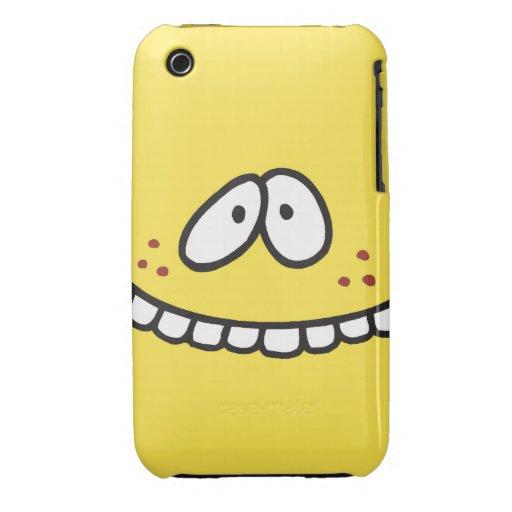 cara sonriente amarilla dentuda linda tonta iPhone 3 cobertura