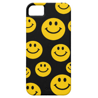 Cara sonriente amarilla funda para iPhone 5 barely there