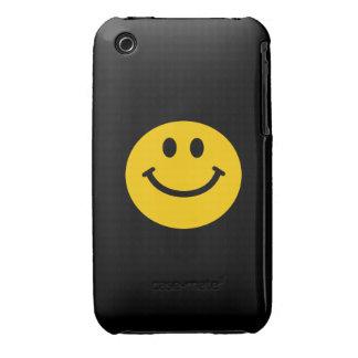 Cara sonriente amarilla iPhone 3 Case-Mate carcasas