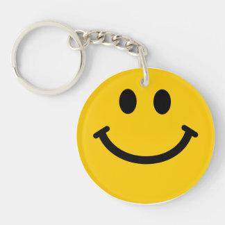Cara sonriente amarilla llavero redondo acrílico a doble cara