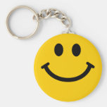 Cara sonriente amarilla llavero redondo tipo pin
