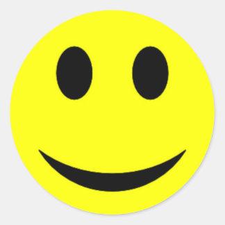 Cara sonriente amarilla original pegatina redonda