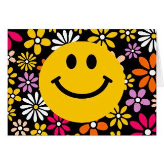Cara sonriente amarilla tarjeta de felicitación