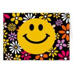 Cara sonriente amarilla tarjeton