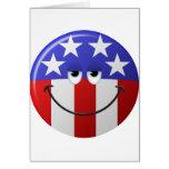 Cara sonriente americana tarjetón