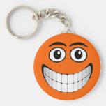 Cara sonriente anaranjada llavero personalizado