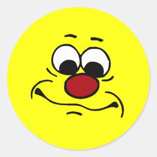 Cara sonriente apática Grumpey Pegatina Redonda