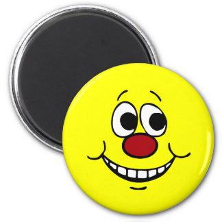 Cara sonriente asustada Grumpey Imán Redondo 5 Cm
