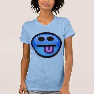 Cara sonriente azul con la lengua que se pega camiseta
