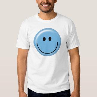 Cara sonriente azul feliz playeras