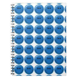 Cara sonriente azul marino feliz libros de apuntes con espiral