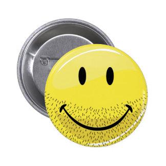 Cara sonriente barbuda del acerino polvoriento pin redondo 5 cm