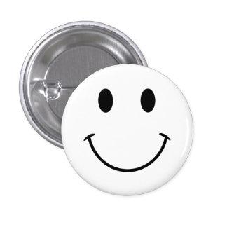 Cara sonriente blanca y negra pin redondo de 1 pulgada