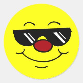 Cara sonriente cambiante Grumpey Pegatina Redonda