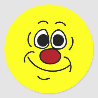 Cara sonriente chula Grumpey Pegatina Redonda
