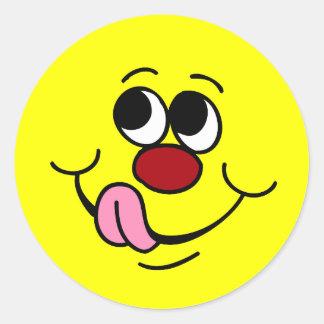 Cara sonriente codiciosa Grumpey Pegatina Redonda