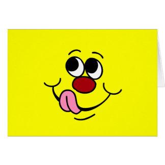 Cara sonriente codiciosa Grumpey Tarjeta Pequeña