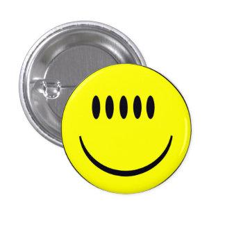 Cara sonriente con la insignia divertida del botón pin redondo de 1 pulgada