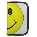 Cara sonriente con los ojos del símbolo del dólar organizador