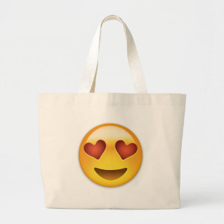 Cara sonriente con los ojos en forma de corazón bolsa tela grande