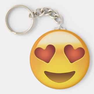 Cara sonriente con los ojos en forma de corazón llavero redondo tipo pin