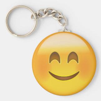 Cara sonriente con los ojos sonrientes Emoji Llavero Redondo Tipo Pin
