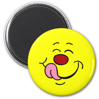 Cara sonriente contenta Grumpey Imán Redondo 5 Cm
