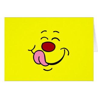 Cara sonriente contenta Grumpey Tarjeta Pequeña