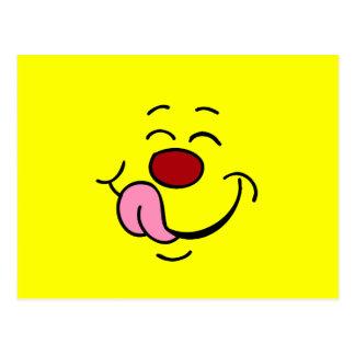 Cara sonriente contenta Grumpey Tarjeta Postal