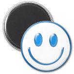 Cara sonriente de cristal azul imanes de nevera