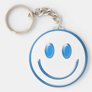 Cara sonriente de cristal azul llavero redondo tipo pin