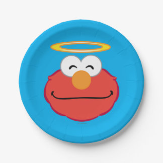 Cara sonriente de Elmo con halo Plato De Papel De 7 Pulgadas