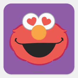 Cara sonriente de Elmo con los ojos en forma de Pegatina Cuadrada