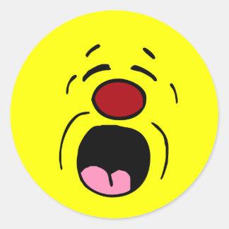 Cara sonriente de gimoteo Grumpey Pegatinas Redondas