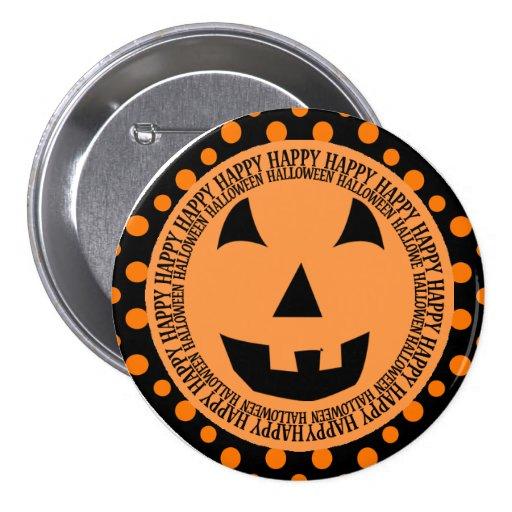 Cara sonriente de la calabaza de Halloween Pin Redondo 7 Cm