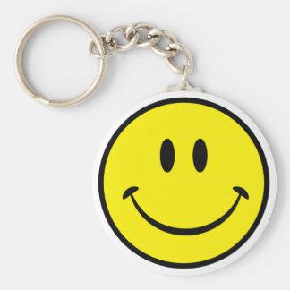 Cara sonriente de la felicidad llavero redondo tipo pin