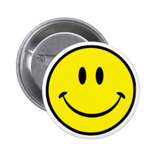Cara sonriente de la felicidad pin redondo de 2 pulgadas