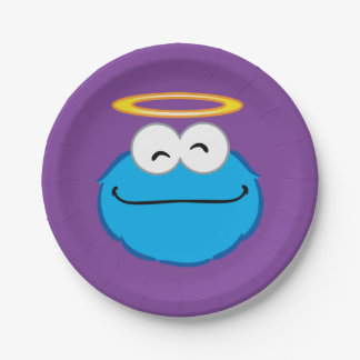 Cara sonriente de la galleta con halo plato de papel de 7 pulgadas
